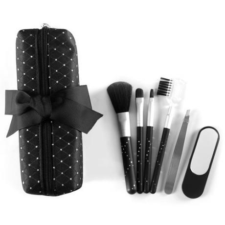 9739D 4-pc make up brush set , 1-mirror & 1-tweezers w/zipper bag
