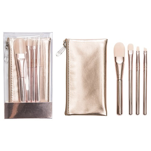 2682 4-pc make up brush w/ cosmetic bag set